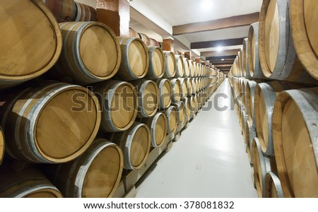 Interior photo of  winery factory with many  wooden barrels  - stock photo
