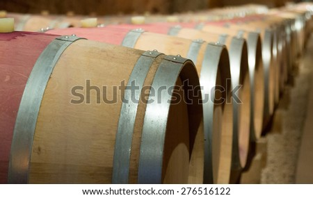 Interior photo of  winery  with new wooden barrels  - stock photo