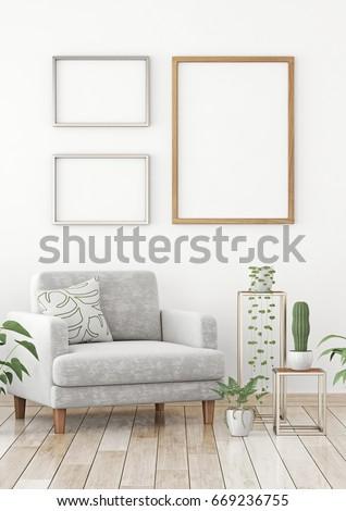 Interior Poster Mock Three Frames Composition Stock Illustration ...