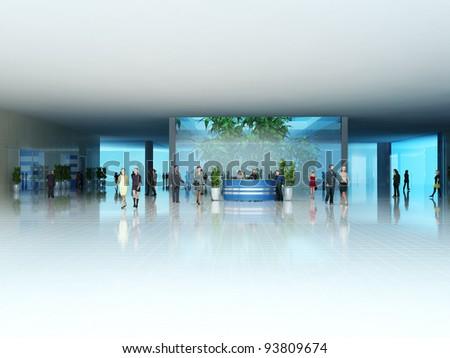 Interior rendering in 3D - stock photo