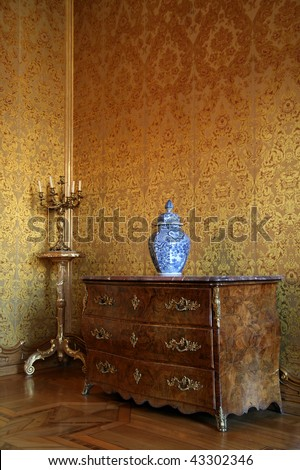 Interior room and baroque furniture in the Stadtschloss (Residence Palace) in Fulda, Germany - stock photo