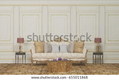 Interior Room,armchair And Lamp,the Empty Room,interior Background,Classic  Style