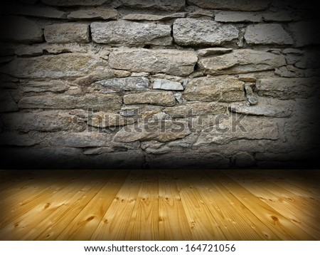 interior room backdrop with wood floor and stone finished  wall for your design - stock photo