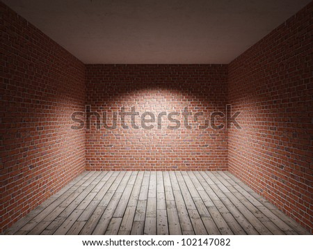 Interior room with brick wall and wooden floor - stock photo