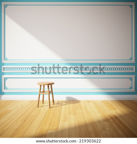Interior room with decorative wall and wooden stool - stock photo