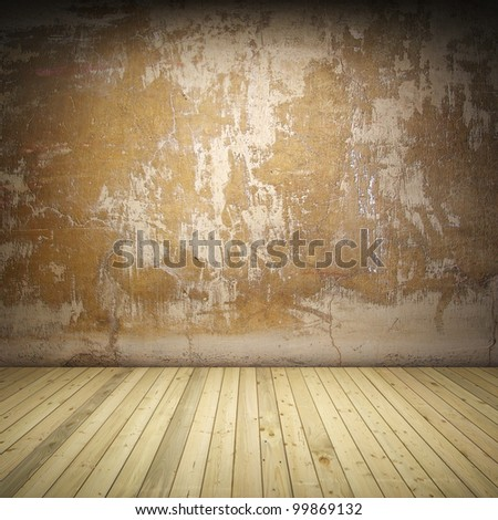 Interior room with grunge wall and wooden floor - stock photo