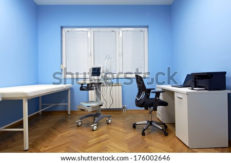 Interior room with Medical ultrasound diagnostic equipment - stock photo