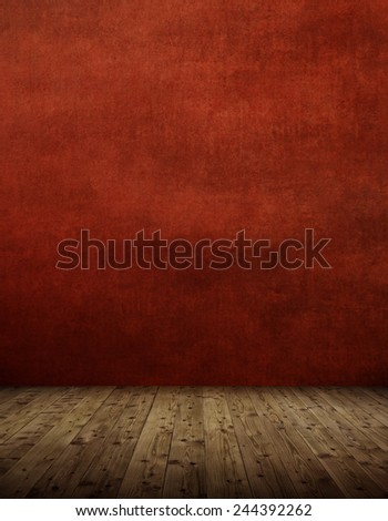 Interior room with  red wall - stock photo