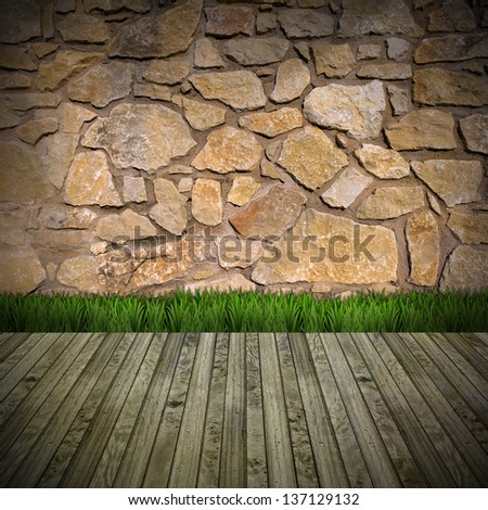 Interior Room with Stone Wall / Brown stone grunge interior with green grass on wood floor - stock photo