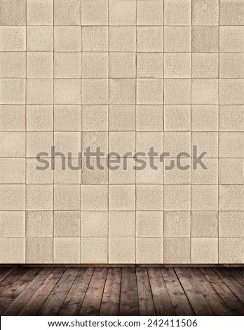 Interior room with tile wall - stock photo