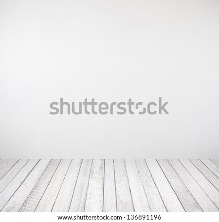 interior room with white wall and wooden floor  - stock photo