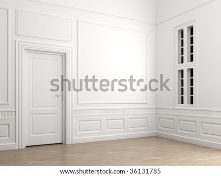 Interior scene of an empty room corner with a closed door and a window with clipping path for adding exterior scene - stock photo