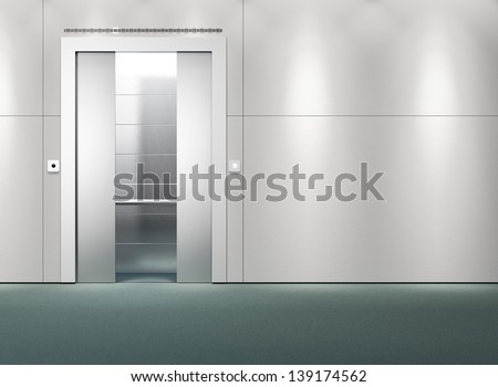 Interior scene of an open elevator - stock photo