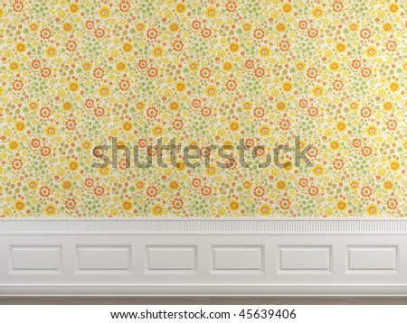 Interior scene of flowery wallpaper and white molding wall with copy space ideal for background use, more images on this series in my portfolio - stock photo