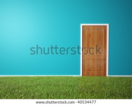 Interior scene - room with wooden door and a grass covered floor - stock photo
