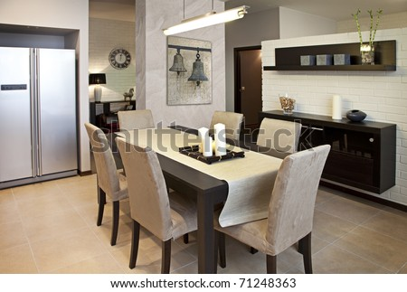 Interior shot of a modern dining room - stock photo