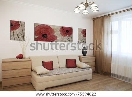 Interior shot of a modern living room - stock photo