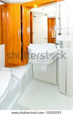 Interior shot of bathroom in motor home - stock photo