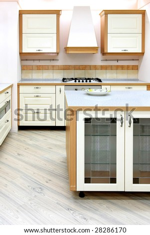 Interior shot of classic style kitchen counter