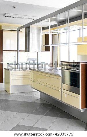 Interior shot of contemporary yellow style kitchen
