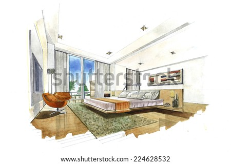 Interior sketch design of bedroom. Watercolor sketching idea on white paper background. - stock photo