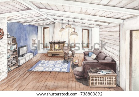 Interior Sketch Of The Living Room With A Fireplace And A Sofa In A Modern  Style