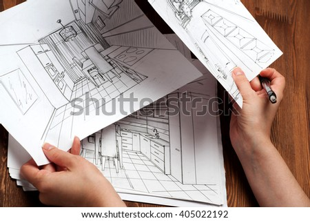 Interior Sketches Bedroom Living Room Kitchen
