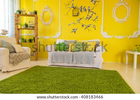 interior sofa with colorful pillows - stock photo