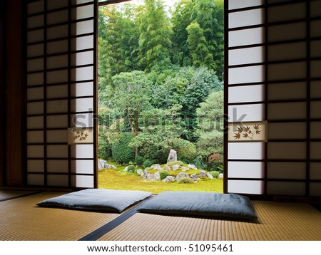 Interior spaces blends seamlessly to a view of a famous zen garden Tofukuji Temple in Kyoto, Japan - stock photo