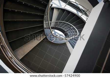 Interior stairs from top view in perspective - stock photo