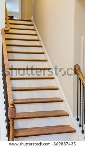 Interior Stairs With Wood Treads And Painted Risers