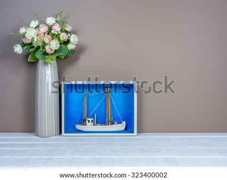 Interior Stilllife Boat Miniature Flower Vase Stock Photo Royalty