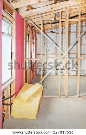 Interior view construction new residential home. - stock photo