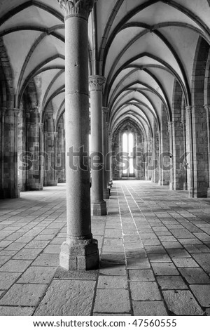 interior view of a medieval hall in an european monastery - stock photo