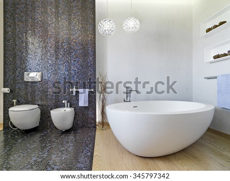 interior view of a modern bathroom in foreground the bathtub and sanitay.ware, the floor is made of wood and mosaic tiles. - stock photo