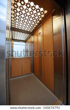 Interior view of a modern elevator stock photo for Modern elevator design