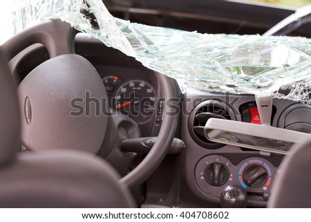 Interior view of a smashed family car after the accident - stock photo
