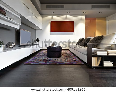 interior view of modern living room - stock photo