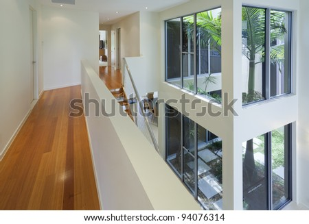 Interior view of modern multilevel house - stock photo