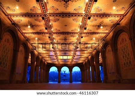 Interior view of newly renovated Bethesda Arcade and Fountain in Central Park, New York City - stock photo