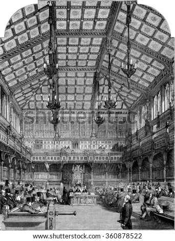 Interior view of the House of Commons, vintage engraved illustration. Magasin Pittoresque 1853.