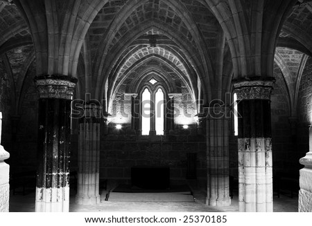 Interior view of the Monasterio de Piedra, in Zaragoza province. - stock photo