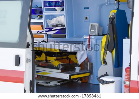 Interior view of the patient compartment of an ambulance. - stock photo