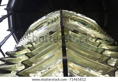 Interior view of two Fresnel lenses  at the Pensacola Lighthouse in Pensacola, FL