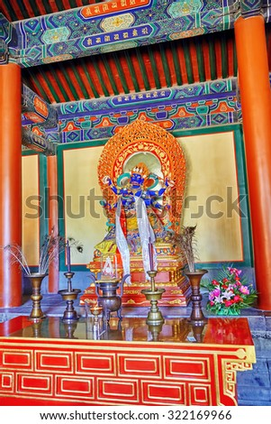 Interior view of Yonghegong Lama Temple.Beijing. Lama Temple is one of the largest and most important Tibetan Buddhist monasteries in the world.