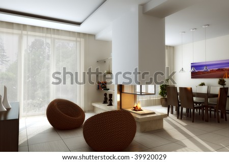 Interior with a fireplace - stock photo