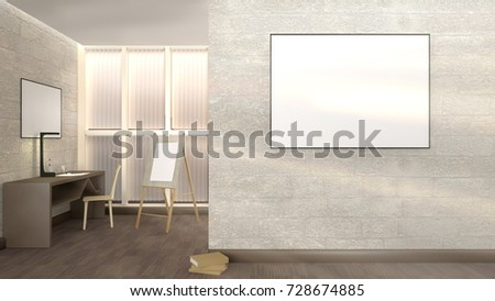 Interior Frame On Wall Table Window Stock Illustration 728674885 ...