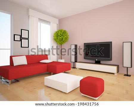 interior with a red furniture - stock photo