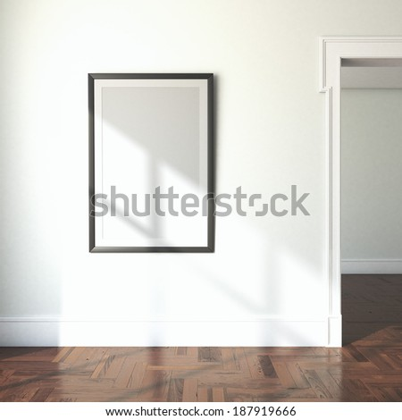 interior with blank frame and doorway - stock photo