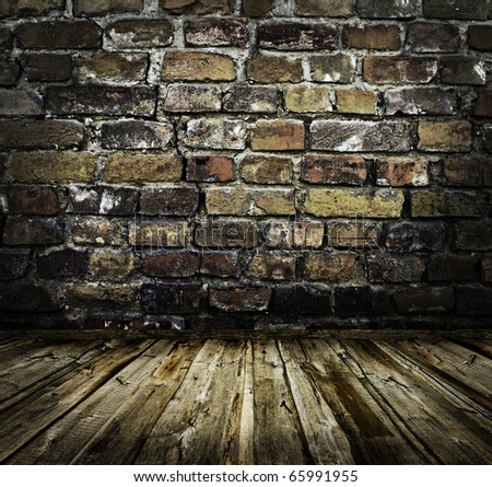 interior with brick wall - stock photo